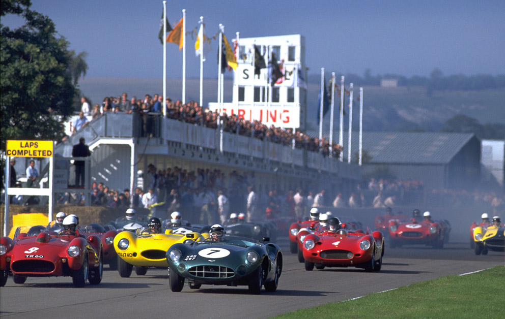 Goodwood Revival start with Stirling Moss