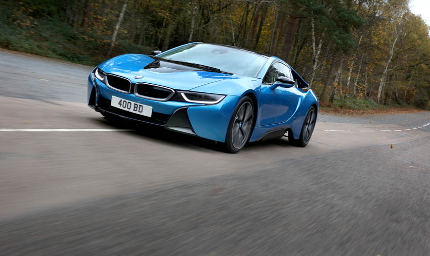 BMWi8 low angle tracking shot